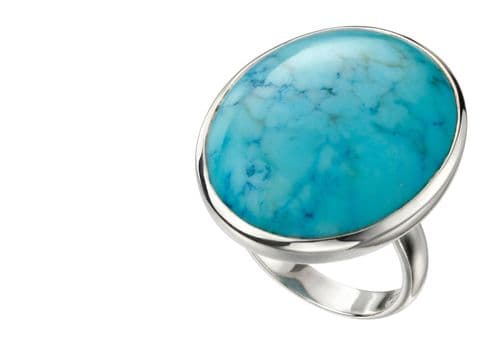 Large Oval Blue Magnesite Sterling Silver Ring