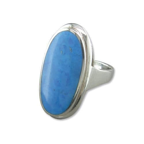 Large Oval Blue Turquoise  Sterling Silver Oval Ring