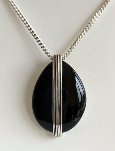 Large Pear Shaped  Black Sterling Silver Onyx Necklace