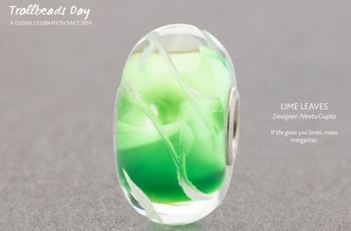 Lime Leaves Limited Edition Trollbeads Green Glass Bead  TGLBE-30047