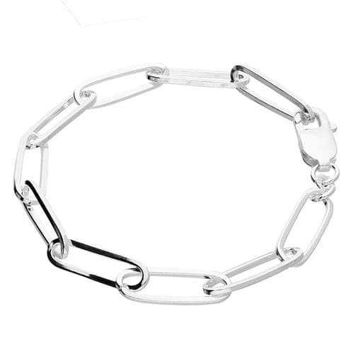 Long Linked Ladies Polished Sterling Silver Bracelet