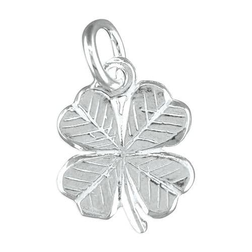Lucky Sterling Silver Four Leaf Clover Solid Charm
