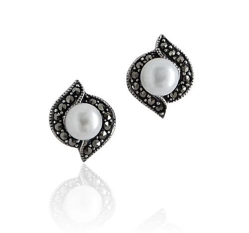 Marcasite and freshwater pearl sterling silver stud earrings