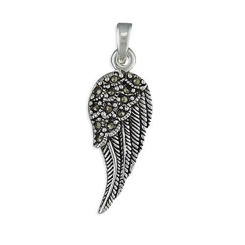 Marcasite Angel Wing Necklace Sterling Silver