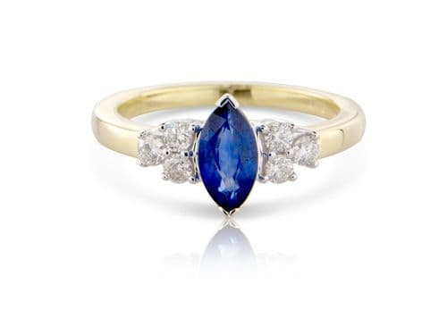 Marquise Shaped | Sapphire And Diamond | Yellow Gold  Ring