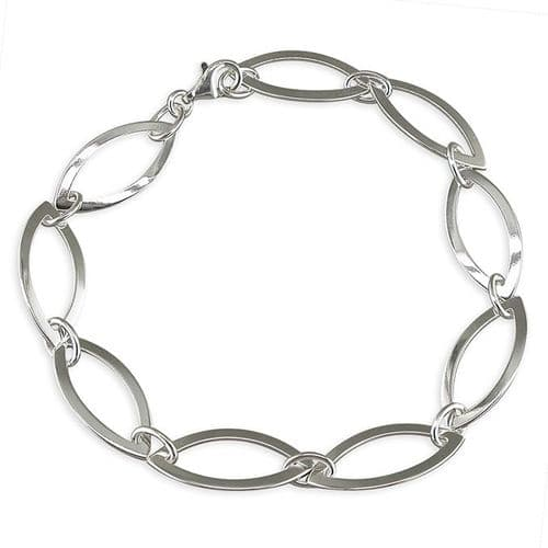 Marquise shaped solid sterling silver ladies beacelet