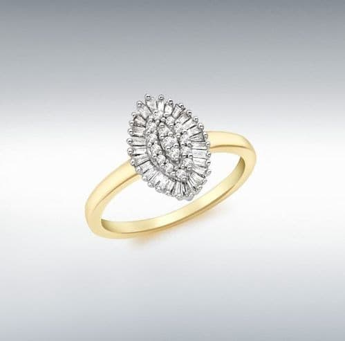 Marquise shaped yellow gold diamond cluster ring