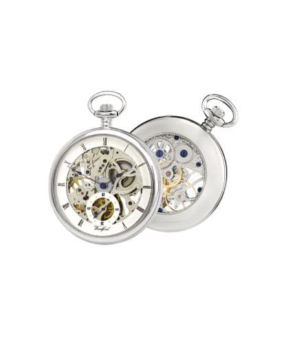 Mechanical Chrome Plated Open Faced Pocket Watch With Chain