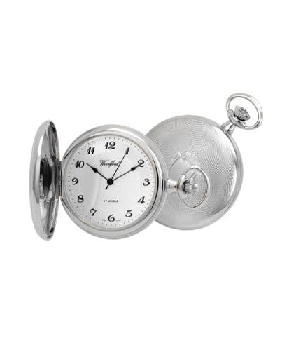 Mechanical Chrome Plated Pocket Watch With Chain