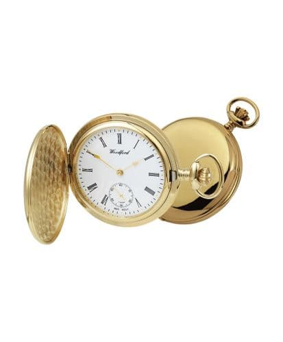 Mechanical Gold Plated Full Hunter Polished Pocket Watch With Chain