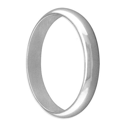 Men's Or Ladies Polished Plain Sterling Silver Wedding Ring 4 mm Wide Rounded