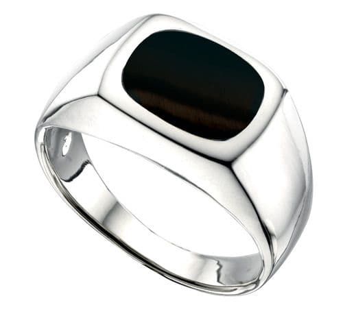 Men's Silver Gents Cushion Shaped Onyx Signet Ring