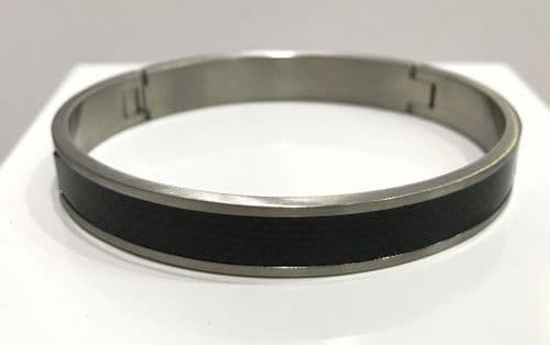 Men's Stainless Steel Black Carbon Fibre Effect Hinged Bangle