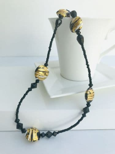 Murano Glass Black Gold Beaded Necklace