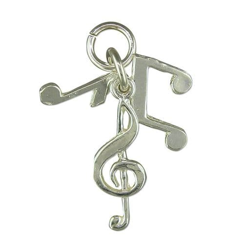 Musical Note Charm Sterling Silver