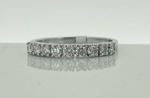 Nine Stone Diamond Claw Set Eternity Ring White Gold 36 Points