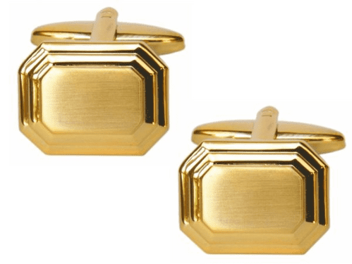 Octagonal Brushed Cufflinks Gold Plated
