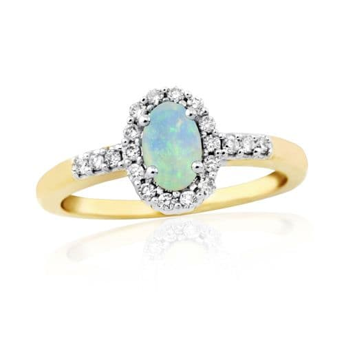 Opal And Diamond Yellow Gold Oval Cluster Ring
