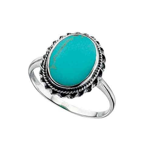 Oval Blue Turquoise Sterling Silver Ring With A Rope Edge Design