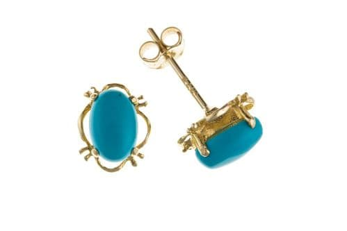 Oval Blue Turquoise Yellow Gold Earrings AP0155