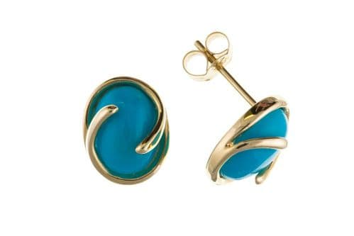 Oval Blue Yellow Gold Turquoise Stud Earrings