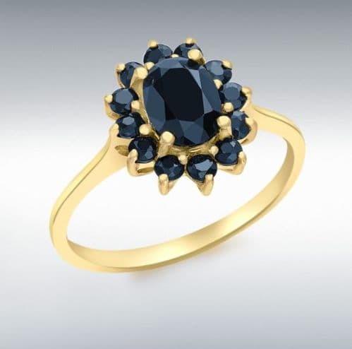 Oval Dark Blue Sapphire Cluster Ring Yellow Gold