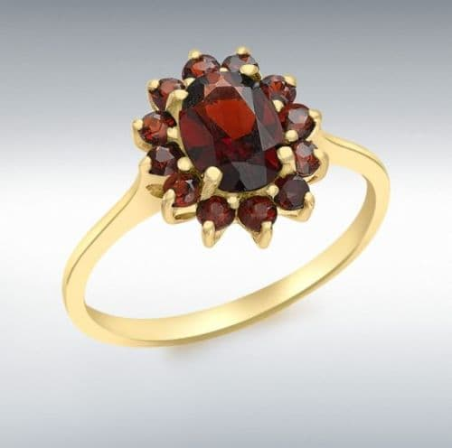 Oval Garnet Cluster Ring Yellow Gold