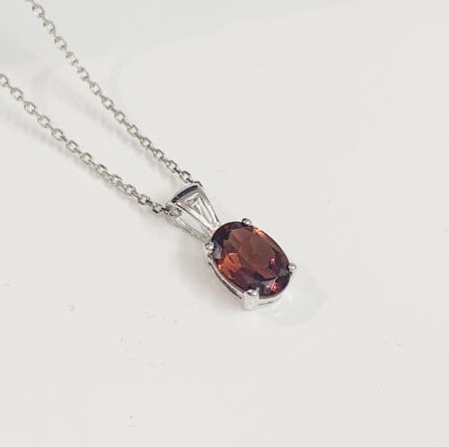 Oval Red Garnet Necklace Pendant White Gold