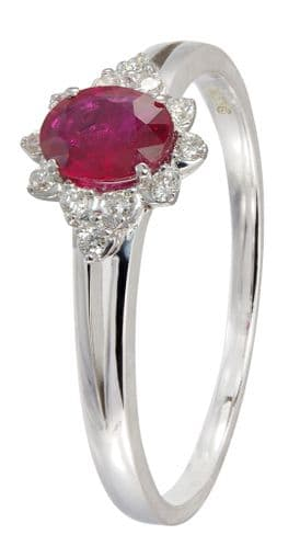 Oval Shaped Ruby And Diamond White Gold Cluster Ring