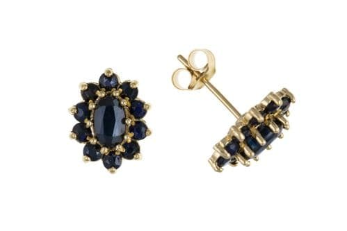 Oval Shaped Yellow Gold Sapphire Cluster Stud Earrings