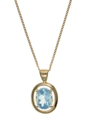 Oval Yellow Gold Blue Topaz Necklace