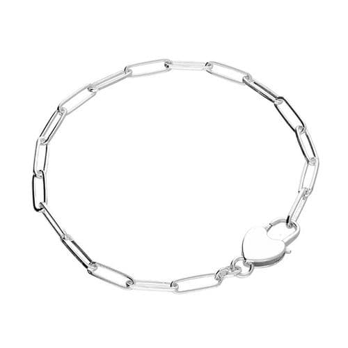 Paper link shaped link  sterling silver ladies bracelet with large heart lock feature