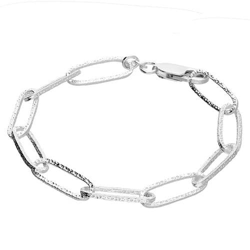 Patterned Long Link Ladies Polished Sterling Silver Bracelet