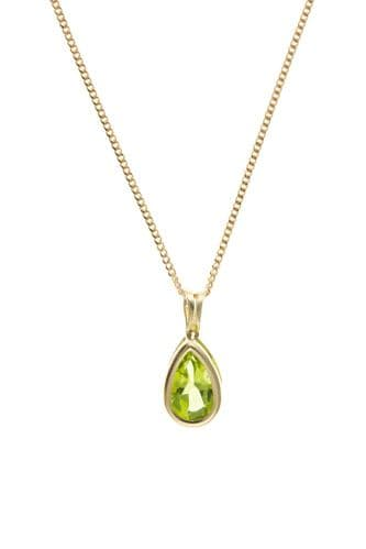 Pear Shaped rubbed Over Yellow Gold Peridot Necklace