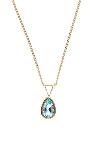 Pear Shaped Yellow Gold Blue Topaz Necklace Including Chain