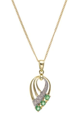 Pear Shaped Yellow Gold Green Emerald and Diamond Spray Necklace