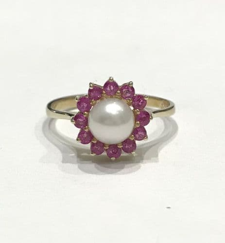 Pearl And Ruby Yellow Gold Round Cluster Ring