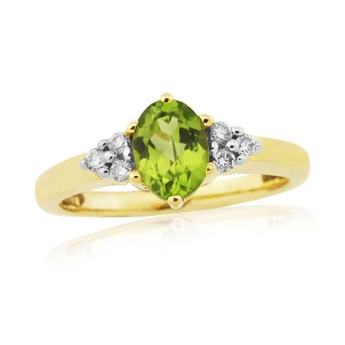Peridot Oval Yellow Carat Gold Cocktail Ring