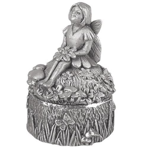 Pewter First Tooth Fairy Guardian Angel Sitting First Tooth Box Christening Gift