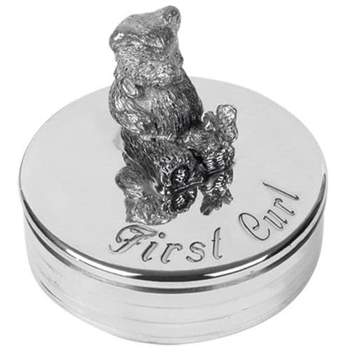 Pewter Teddy First Curl Trinket Box Christening Gift