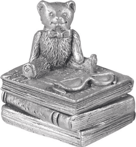 Pewter Teddy On Books First Tooth Box Christening Gift