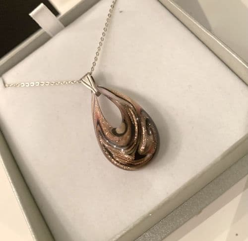 Pink & Copper Murano Glass tear drop necklace