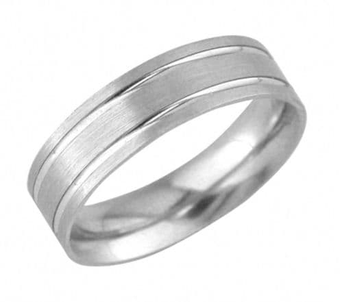 Platinum Men's Patterned Diamond Cut Double Lined Wedding Ring