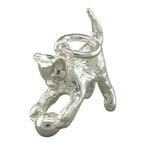 Playful Cat And Ball Charm Sterling Silver