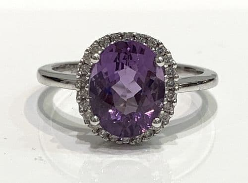 Purple Oval Amethyst And Diamond White Gold Cluster Ring