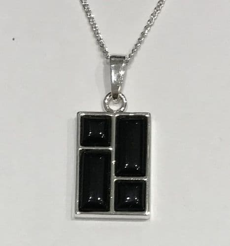 Rectangle Shaped Sterling Silver Jet Necklace
