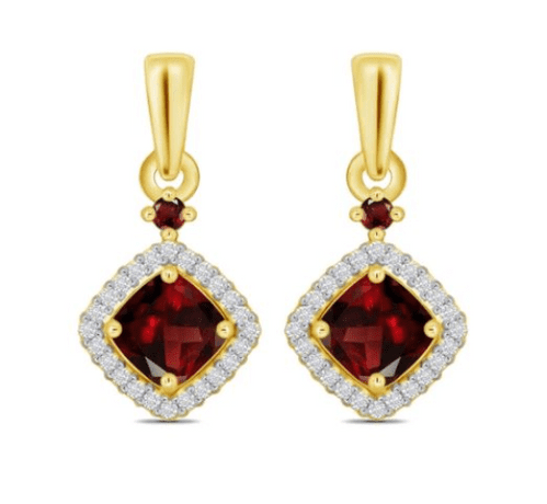 Red Brown Garnet And Diamond Cluster Yellow Gold Drop Earrings
