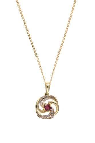 Red Round Gold Ruby Necklace Pendant