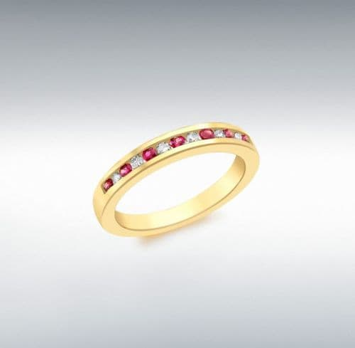 Red Ruby And Diamond Channel Set Yellow Gold Eternity Ring