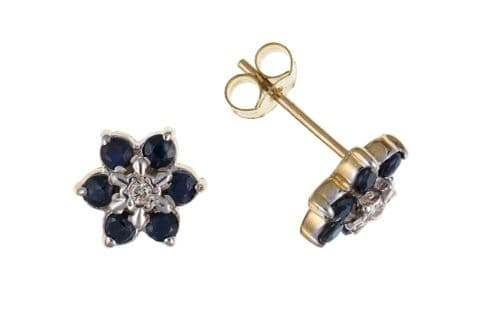 Round Cluster Yellow Gold Sapphire And Diamond Stud Earrings
